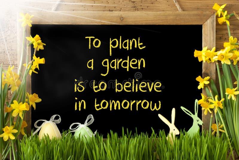 Sunny Narcissus, uovo di Pasqua, coniglietto, giardino della pianta di citazione crederà domani fotografia stock