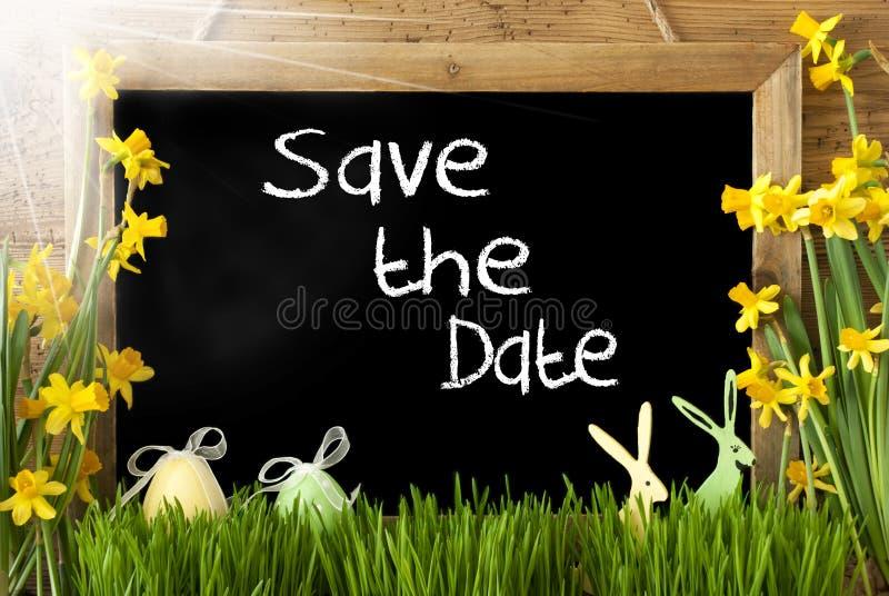 Sunny Narcissus, uovo di Pasqua, coniglietto, risparmi del testo la data immagine stock libera da diritti