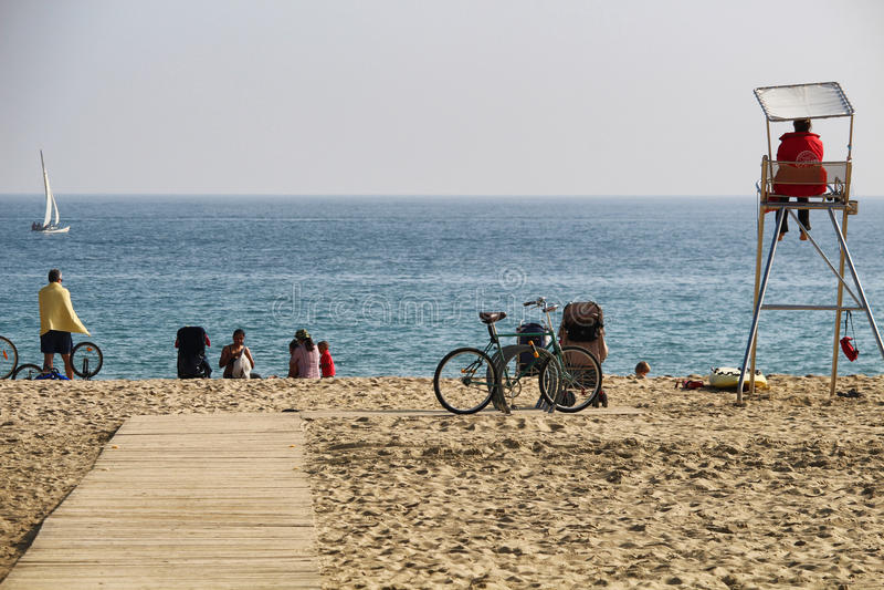Sunny october Barcelona beach stock photo
