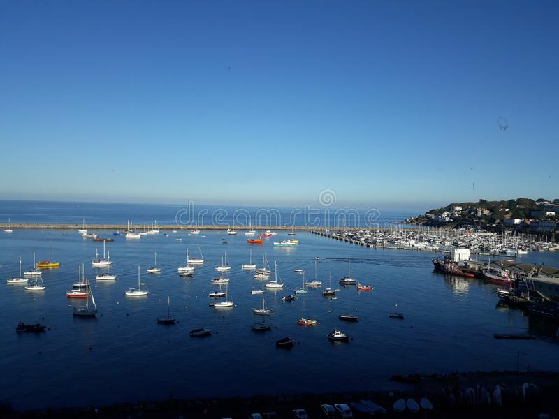 Brixham Harbour. A sunny October day overlooking Brixham Harbour stock photo