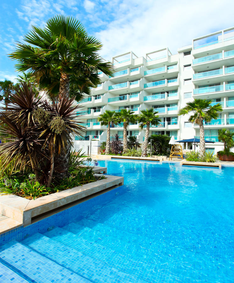 Download Sunny pool in Spain stock image. Image of palm, architecture - 24537083