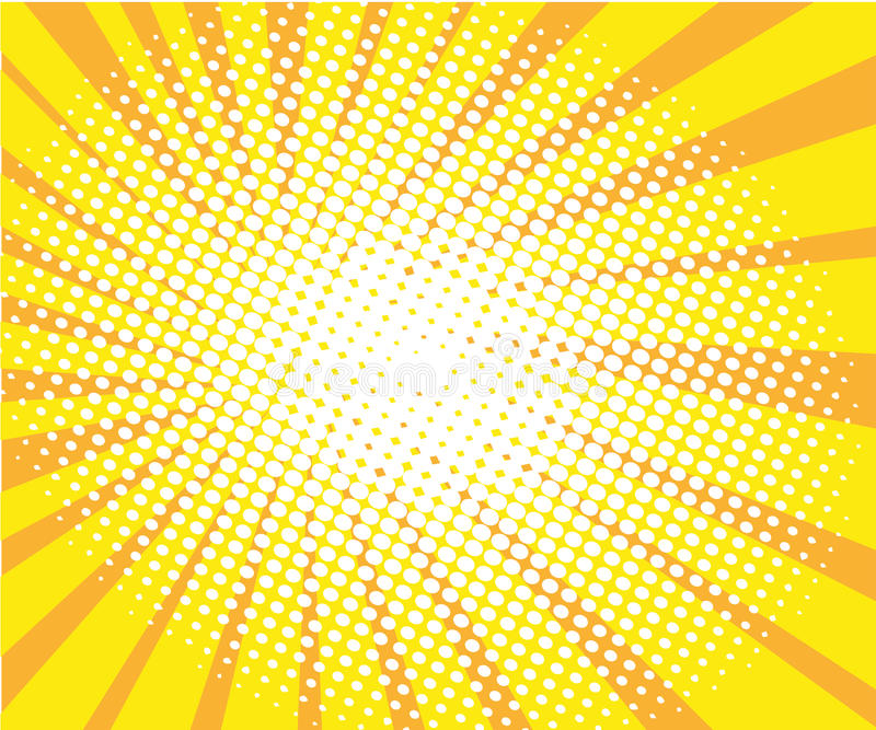 Sunny pop art retro comic halftone background vector. Illustration stock illustration