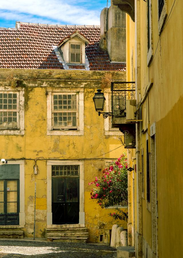 Sunny Portugal. The main streets of Lisbon. Authentic buildings of old Lisbon stock photo