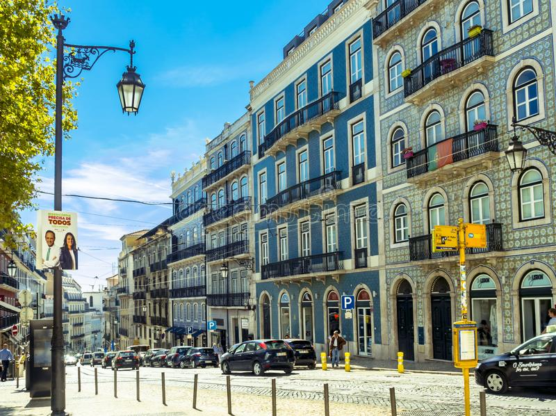 Sunny Portugal. The main streets of Lisbon. Authentic buildings of old Lisbon royalty free stock image