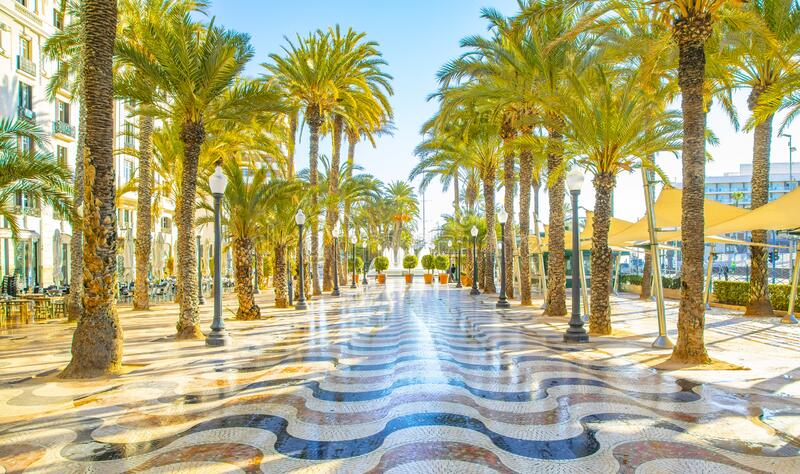 Sunny promenade in Alicante, Spain royalty free stock images
