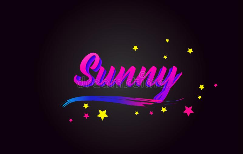 Sunny Purple Handwritten che segna tipografia con lettere Parola per il logotype, distintivo, icona, carta, cartolina, logo, inse royalty illustrazione gratis