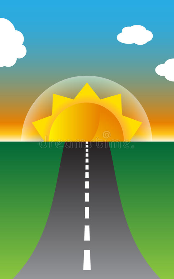 Download Sunny Road stock vector. Image of vector, green, illustration - 14267419