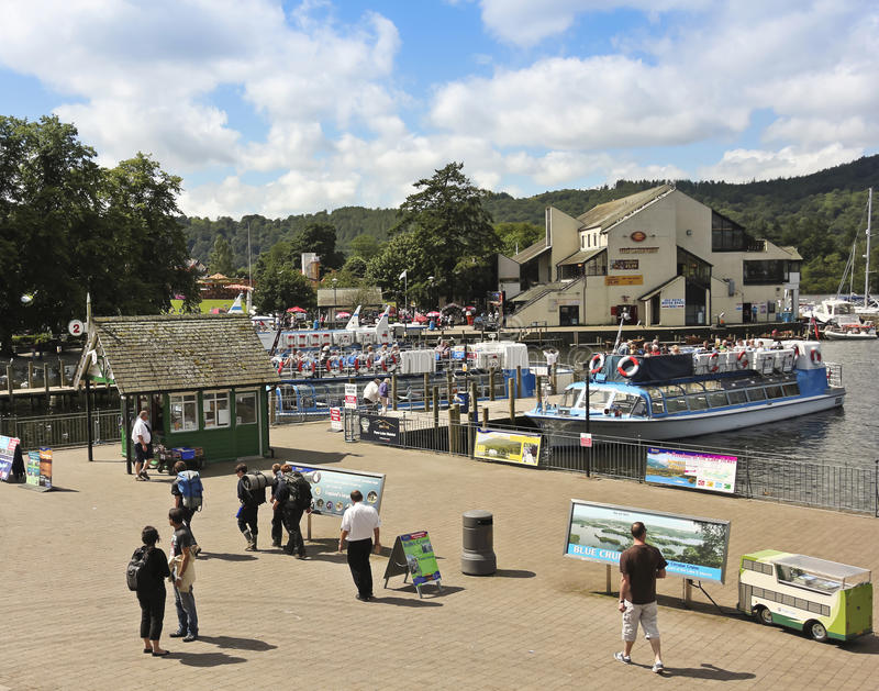 Download A Sunny Scene In Bowness-on-Windermere Editorial Stock Image - Image of pier, restaurant: 26575114