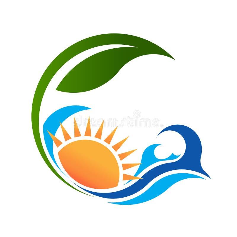 Sunny Sea et logo vert de la vie illustration stock