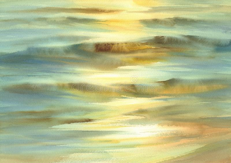 Sunny sea with evening sun reflections watercolor background stock photography