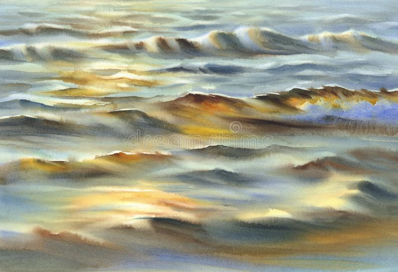 Sunny sea reflections watercolor background stock photo