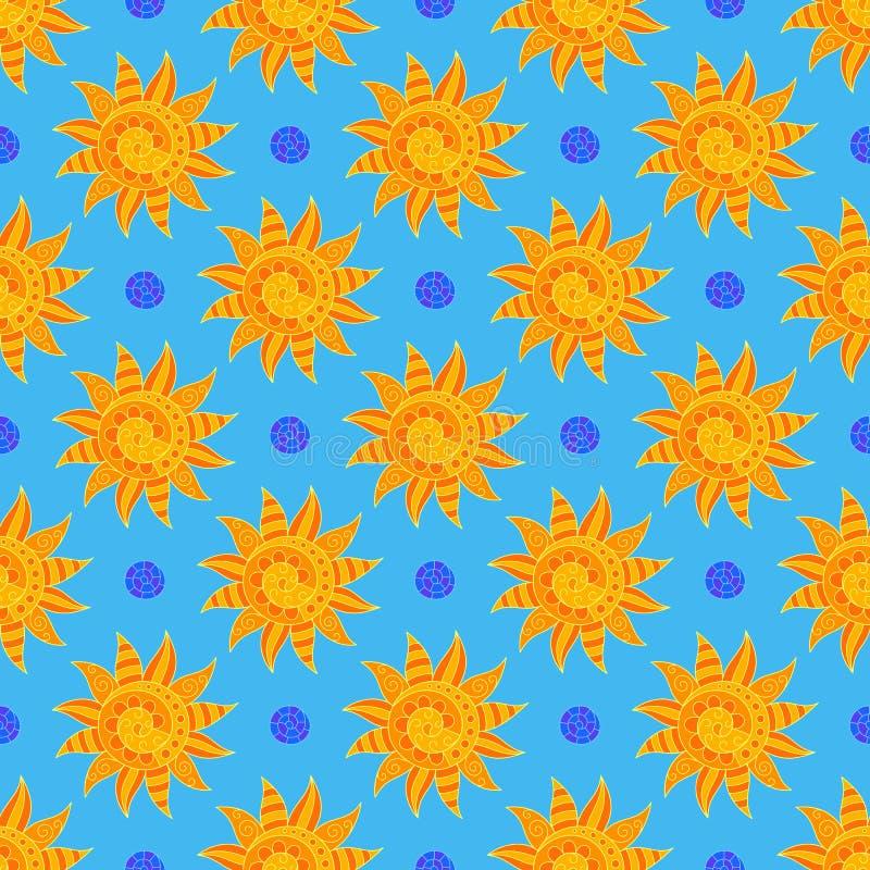 Sunny Seamless Pattern brillante de soles amarillos a mano en el contexto azul claro ilustración del vector
