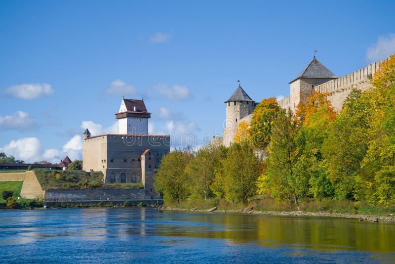 Narva river. The border of Estonia and Russia. Sunny September day on the Narva river. The border of Estonia and Russia stock photo