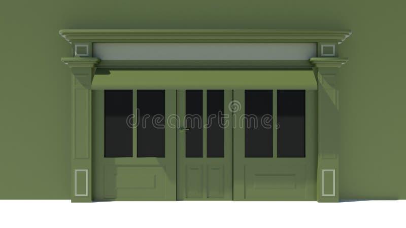 Sunny shopfront con le grandi finestre bianche e facciata verde del deposito con le tende - Finestre bianche ...