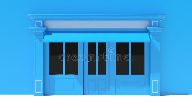Sunny Shopfront with large windows White and blue store facade with awnings. 3D vector illustration