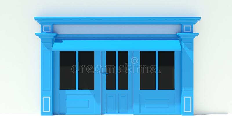 Sunny Shopfront with large windows White and blue store facade with awnings. 3D royalty free illustration