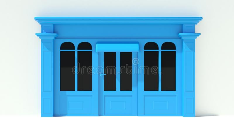 Sunny Shopfront with large windows White and blue store facade with awnings. Render of Sunny Shopfront with large windows White and blue store facade with vector illustration