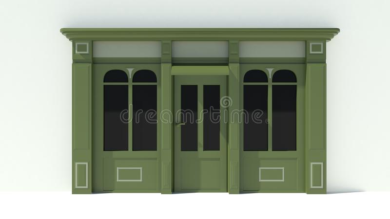 Sunny Shopfront with large windows White and green store facade with awnings. 3D royalty free illustration