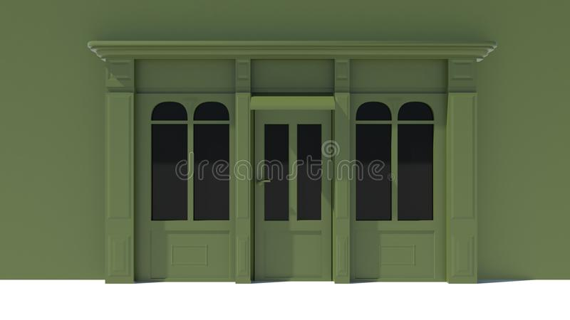 Sunny Shopfront with large windows White and green store facade with awnings. 3D stock illustration