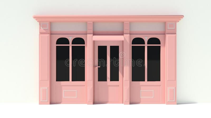 Sunny Shopfront with large windows White and pink store facade with awnings. 3D royalty free illustration