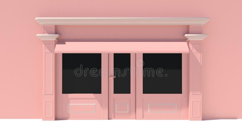 Sunny Shopfront with large windows White and pink store facade with awnings. 3D stock illustration