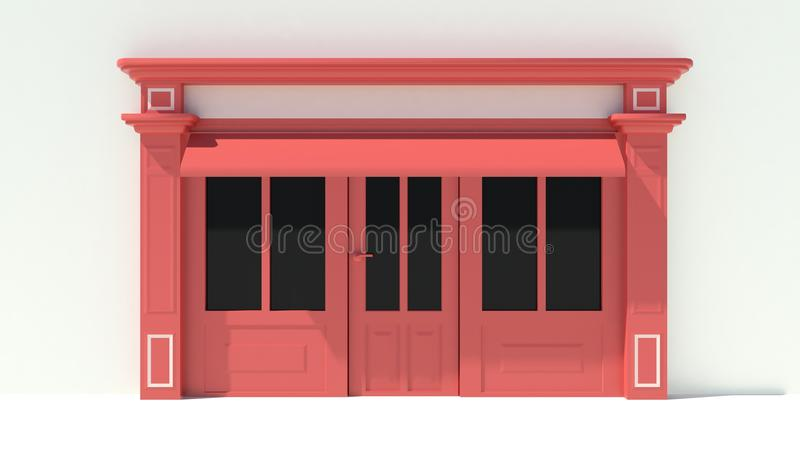 Sunny Shopfront with large windows White and red store facade with awnings. 3D royalty free illustration