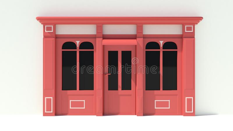 Sunny Shopfront with large windows White and red store facade with awnings. 3D vector illustration