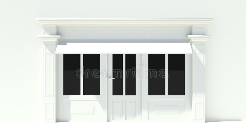 Sunny Shopfront with large windows White store facade with awnings. 3D vector illustration