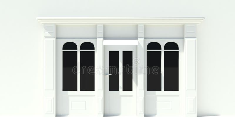 Sunny Shopfront with large windows White store facade with awnings. 3D stock illustration