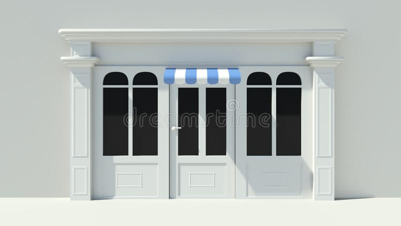 Sunny Shopfront with large windows White store facade with blue and white awnings. 3D vector illustration