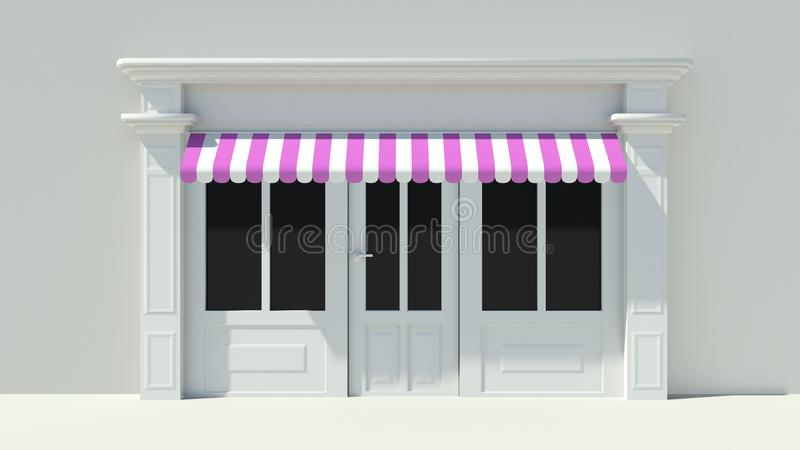 Sunny Shopfront with large windows White store facade with purple pink and white awnings. 3D vector illustration