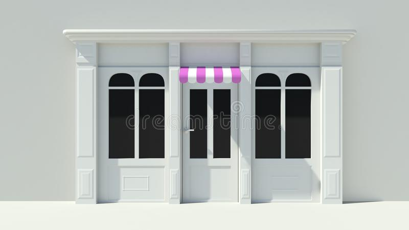 Sunny Shopfront with large windows White store facade with purple pink and white awnings. 3D stock illustration