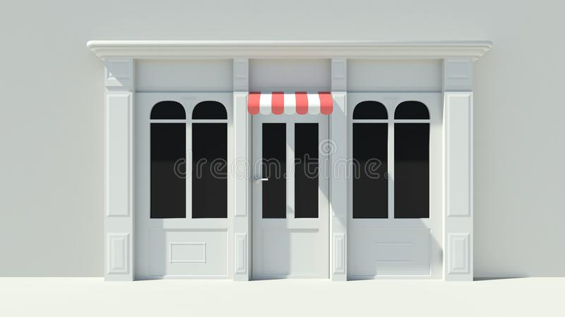 Sunny Shopfront with large windows White store facade with red and white awnings. 3D royalty free illustration