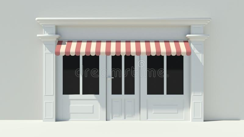 Sunny Shopfront with large windows White store facade with red and white awnings. 3D vector illustration