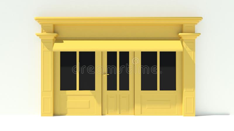 Sunny Shopfront with large windows White and yellow store facade with awnings. 3D royalty free illustration