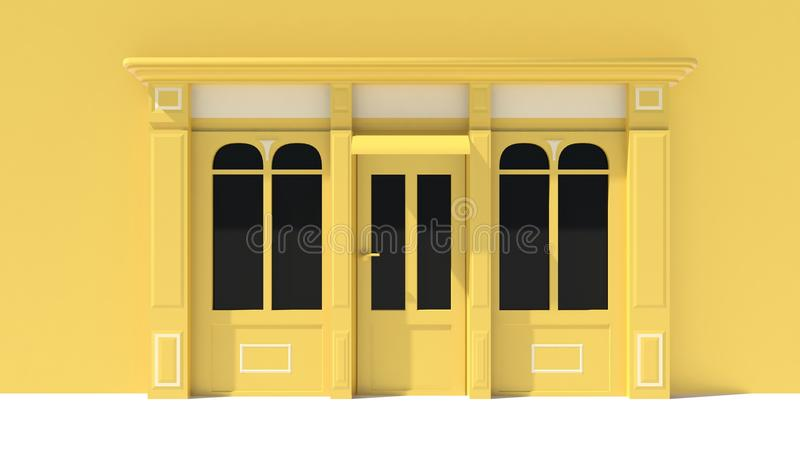 Sunny Shopfront with large windows White and yellow store facade with awnings. 3D stock illustration