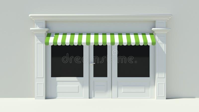 Sunny Shopfront med den vita lagerfasaden för stora fönster med gröna och vita markiser stock illustrationer