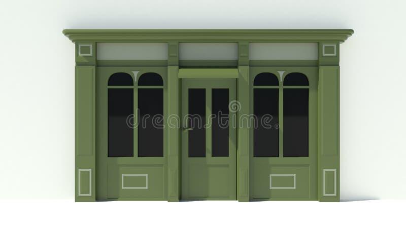 Sunny Shopfront met de grote voorgevel van de vensters Witte en groene opslag met het afbaarden royalty-vrije illustratie