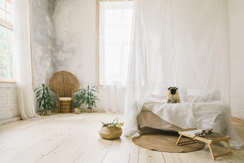 Sunny Skandinavian-stijl Binnenlandse Slaapkamer Houten Vloer ...