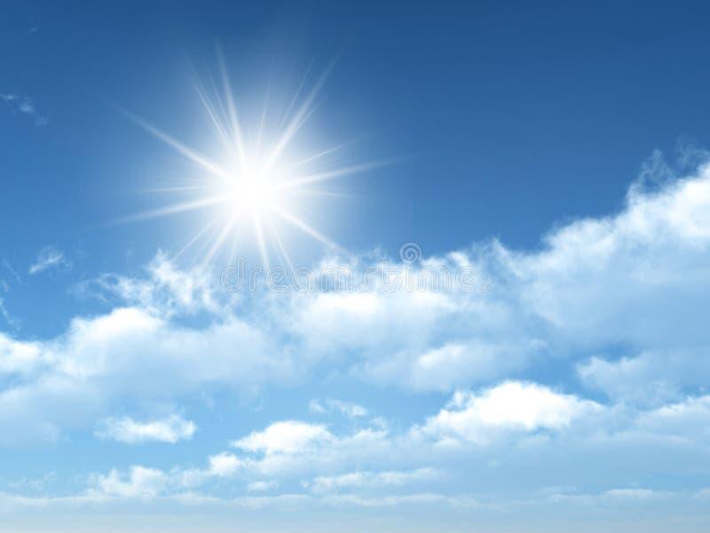Sunny sky. Cloudy sky with sun shining stock image