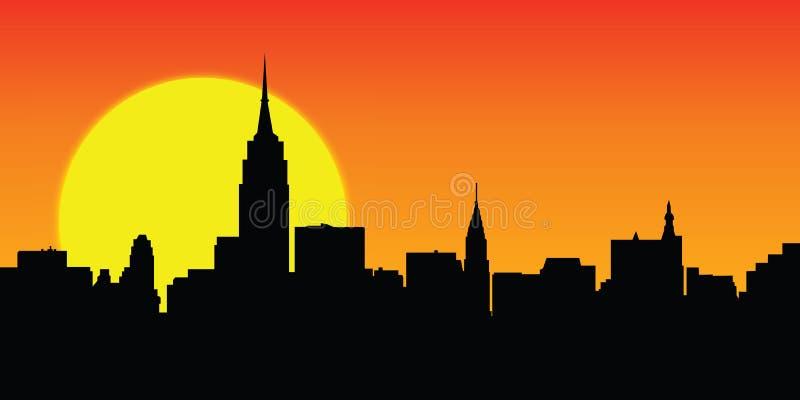 Sunny skyline New York vector royalty free illustration