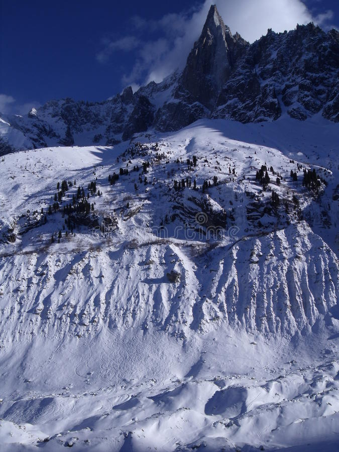 Sunny snowie mountain alpes scene royalty free stock photography