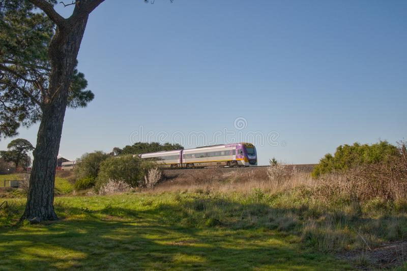V/line Velocity Trainset at Riddlell`s Creek stock image