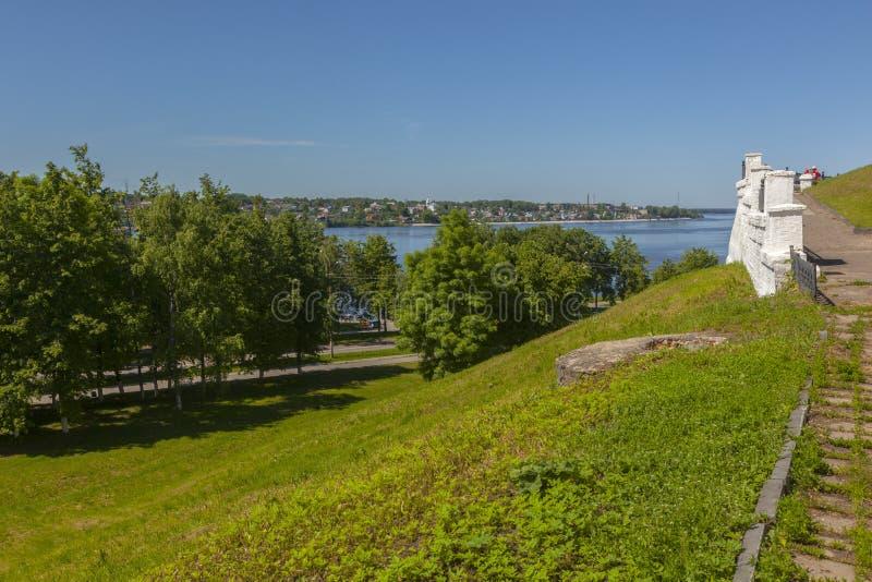 Spring Volga River embankment stock photo