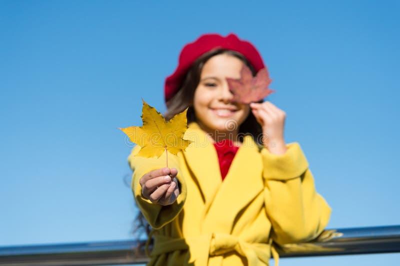 Sunny and still warm. Autumn walks are best. Happy smiling kid. Beautiful autumn. Enjoy season. Little girl adore autumn stock photography