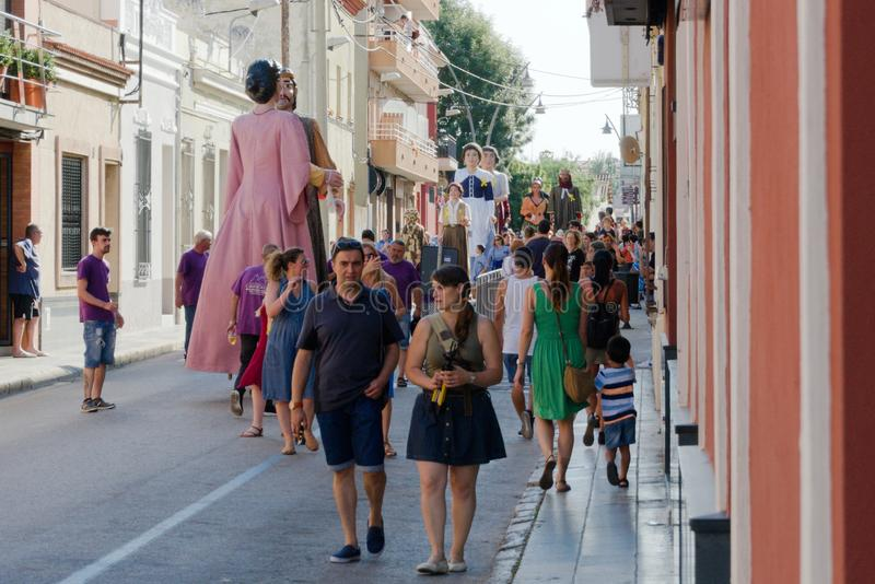 Malgrat de Mar, Spain, August 2018. Satisfied people disperse after a beautiful holiday of giants in the old city. royalty free stock photography