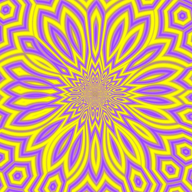 Sunny Summer Abstract Background amarillo y violeta, mandala soleada brillante o fractal floral soleado ilustración del vector