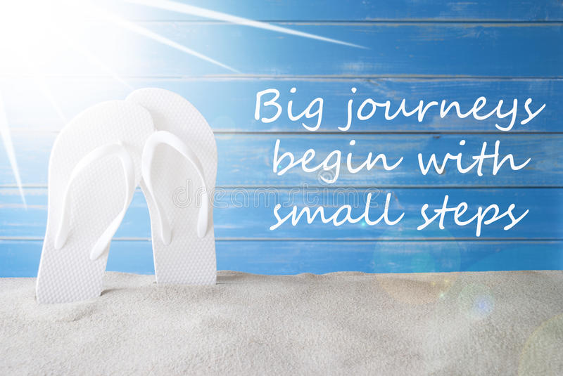 Sunny Summer Background, Quote Big Journey Begin With Small Steps stock photo