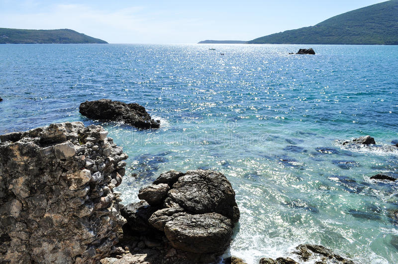 Sunny summer bay stock images