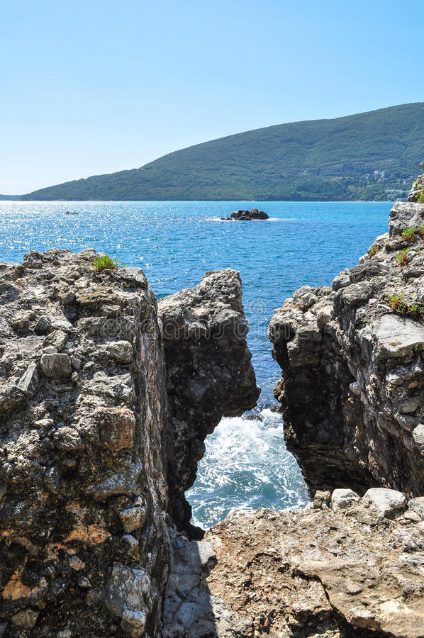 Sunny summer bay stock image
